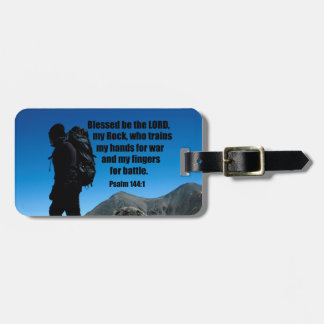 Psalm 144:1 Blessed be the Lord my rock who Luggage Tag