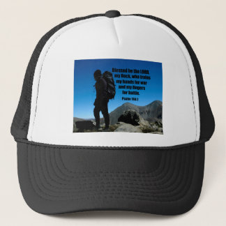 Psalm 144:1 Blessed be the Lord my rock who Trucker Hat