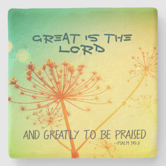 Psalm 145:3 Great is the Lord, Bible Verse Stone Coaster