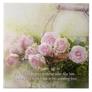 Psalm 147:11, Bible Verse, Basket of Pink Roses, Ceramic Tiles