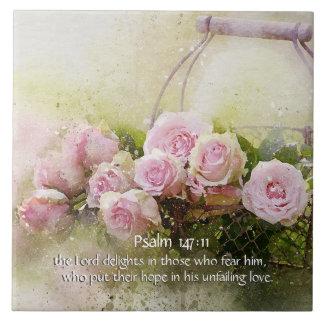 Psalm 147:11, Bible Verse, Basket of Pink Roses, Tile