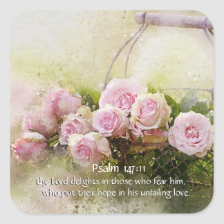 Psalm 147:11 Inspiring Bible Verse Pink Roses Square Sticker