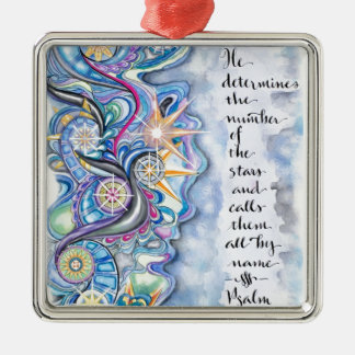 Psalm 147:4 He Calls The Stars by Name Metal Ornament