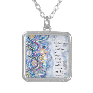 Psalm 147:4 He Calls The Stars by Name Silver Plated Necklace