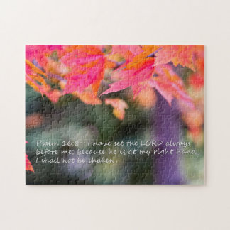 Psalm 16:8 on Fall leaves Jigsaw Puzzle