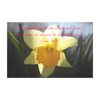 Psalm 18:19 Yellow Daffodil Canvas Print