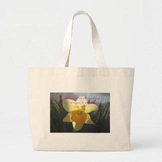 Psalm 18:19 Yellow Daffodil Large Tote Bag