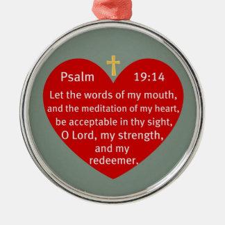 Psalm 19:14 metal ornament