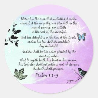 Psalm 1 classic round sticker