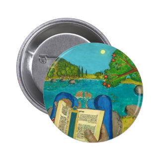 Psalm 1 in Hebrew Bible Jewish Christian Paintings 2 Inch Round Button