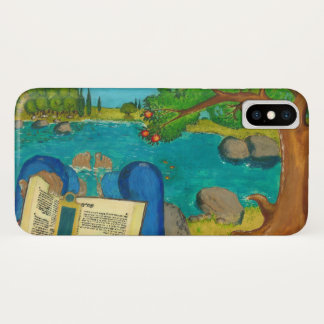 Psalm 1 in Hebrew Bible Jewish Christian Paintings iPhone X Case