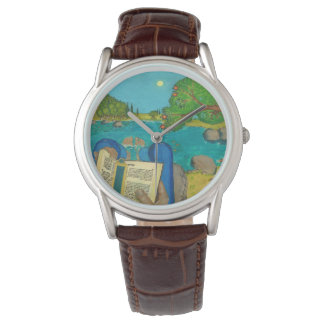 Psalm 1 in Hebrew Bible Jewish Christian Paintings Wrist Watch