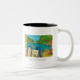Psalm 1 - Man reads Psalm 1 in Hebrew Bible Two-Tone Coffee Mug