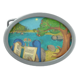 Psalm 1 - Man reads Psalm 1 in Hebrew Oval Belt Buckle