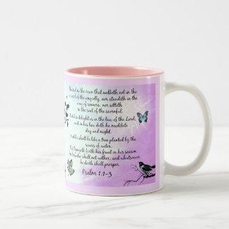 Psalm 1 Two-Tone coffee mug