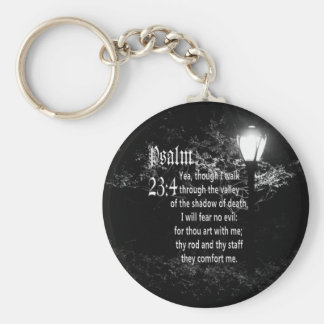 Psalm 23:4  Bible Verse Custom Christian Gift Basic Round Button Keychain