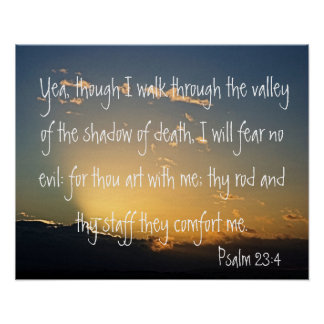 Psalm 23:4 bible verse for protection poster