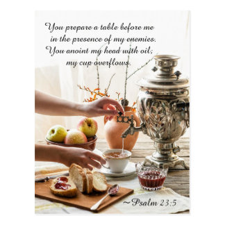 Psalm 23:5 You prepare a table before me, Bible Postcard