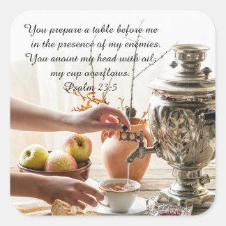 Psalm 23:5 You prepare a table before me, Bible Square Sticker
