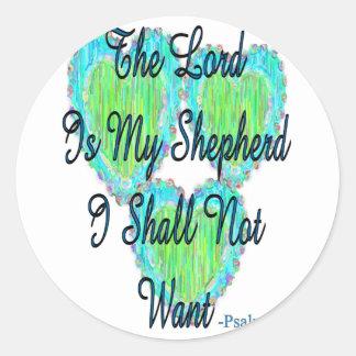 Psalm 23 hearts round sticker