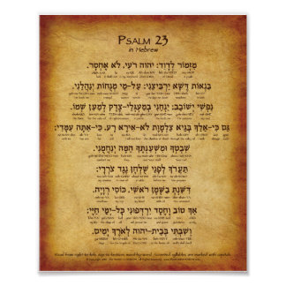 "Psalm 23 Hebrew Poster (8""x10"")"