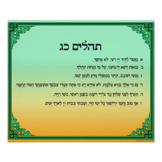 Psalm 23 in Hebrew Large Poster