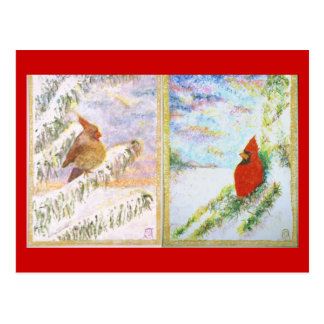 Psalm 23 Male & Female Cardinals postcard