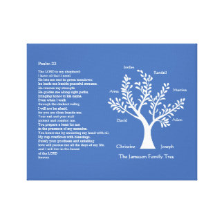 Psalm 23 NLT with Family Tree, Canvas Print