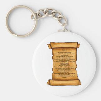 Psalm 23 on Old Scroll: Pastel Art: Scripture Basic Round Button Keychain