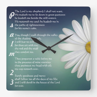 Psalm 23 - The LORD is my shepherd Square Wall Clock