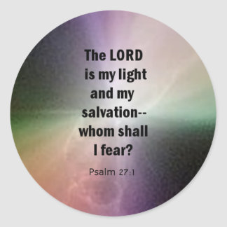 Psalm 27:1 classic round sticker