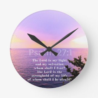 Psalm 27:1 INSPIRATIONAL BIBLE VERSE Round Clock