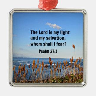 Psalm 27:1 metal ornament