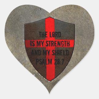 Psalm 28:7 Lord is My Strength & Shield Heart Sticker