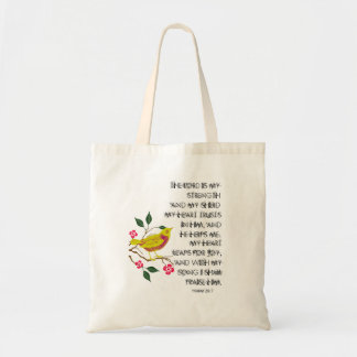 Psalm 28 Tote Bag The Lord is my Strength Bird