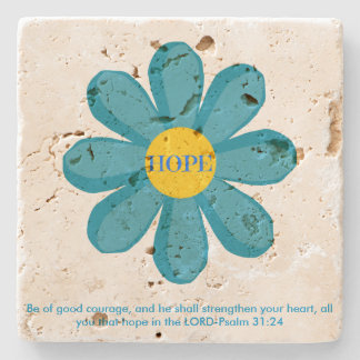 Psalm 31 Blue Hope Flower Travertine Coaster