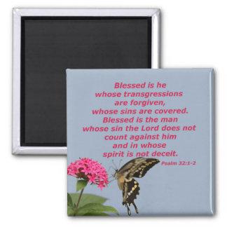 Psalm 32:1-2 square magnet
