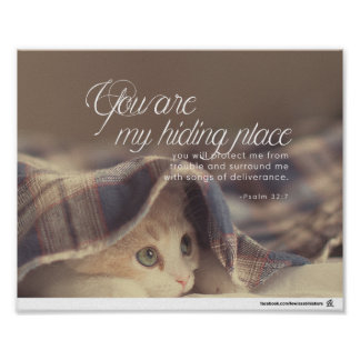 Psalm 32:7 - You are my hiding place Poster