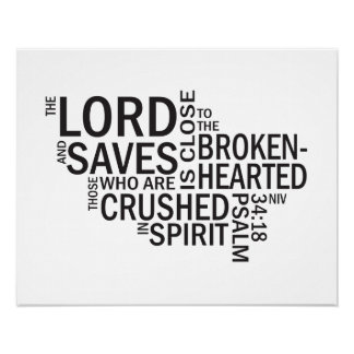 "Psalm 34:18 ""The Lord is Close"" Subway Art Poster"