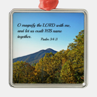 Psalm 34:3 O magnify the Lord with me... Metal Ornament