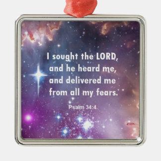 Psalm 34:4 Silver-Colored square ornament