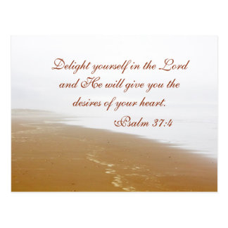 Psalm 37:4 Bible Verse, Sandy Ocean Beach Custom Postcard