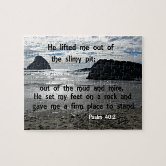 Psalm 40:2 He lifted me out of the slimy pit Jigsaw Puzzle