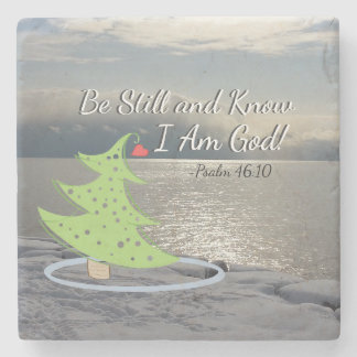"Psalm 46:10 ""Be Still and Know I Am God"" Christmas Stone Coaster"