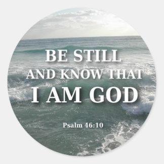 Psalm 46:10 - Be Still Classic Round Sticker