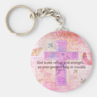 Psalm 46:1-3 Encouraging Bible Verse Keychain