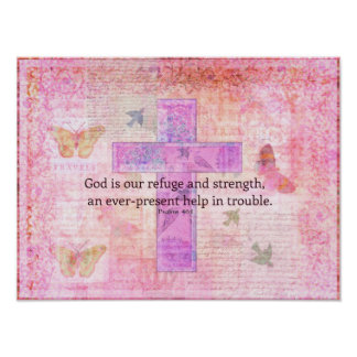 Psalm 46:1-3 Encouraging Bible Verse Poster