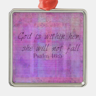 Psalm 46:5 God is within her, she will not fall Silver-Colored Square Ornament