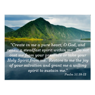Psalm 51 10 - 12 Scripture Memory Card Postcard