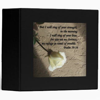 Psalm 59:16 White Rose Binder
